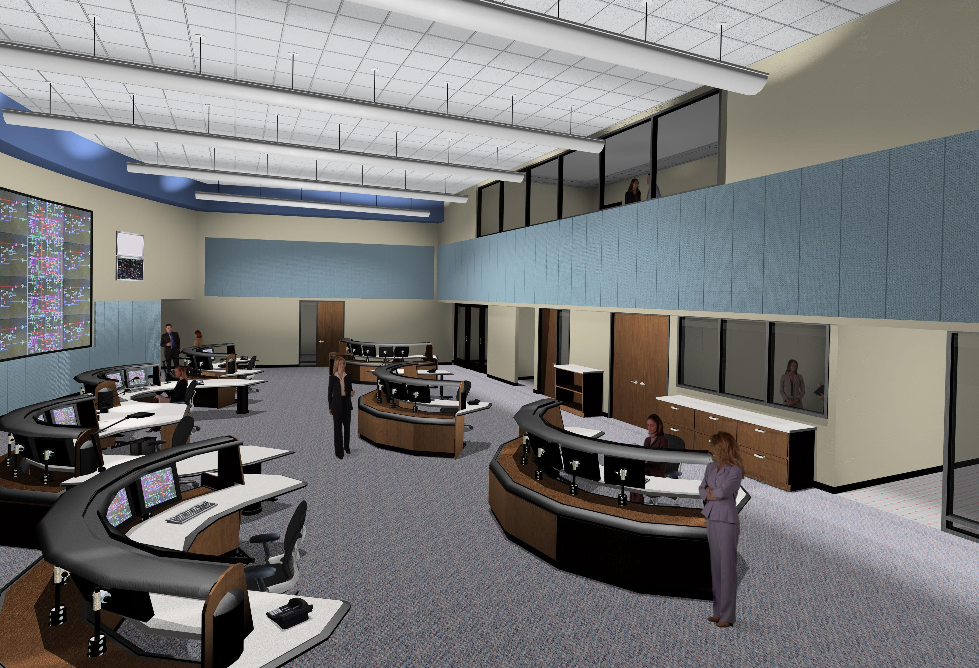 Side view of control room rendering