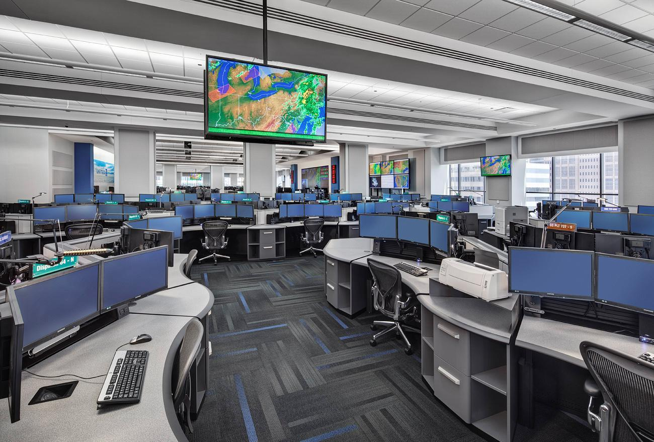 Rendering of airline control center with call center