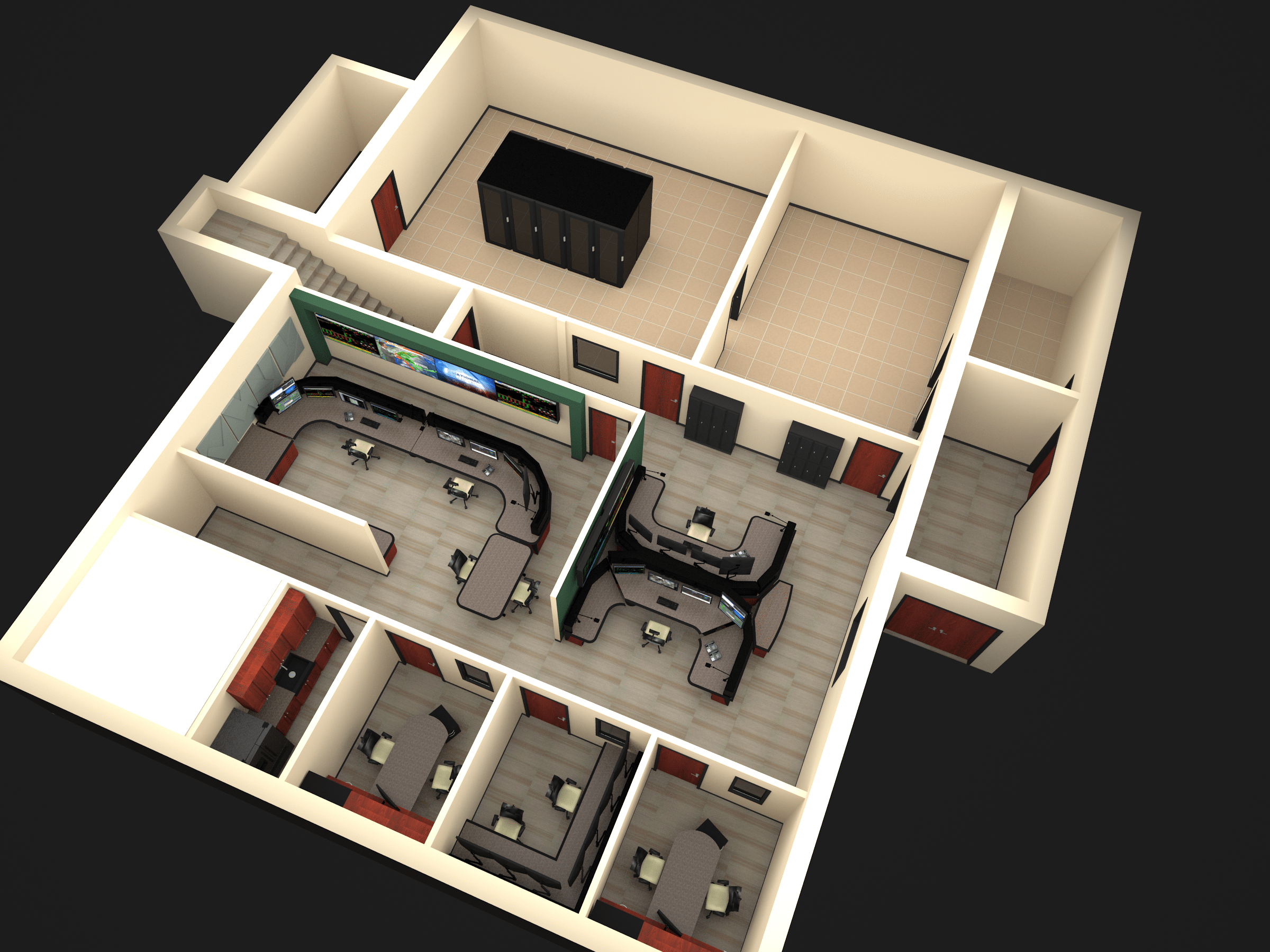 3D birds eye view of floor plan layout