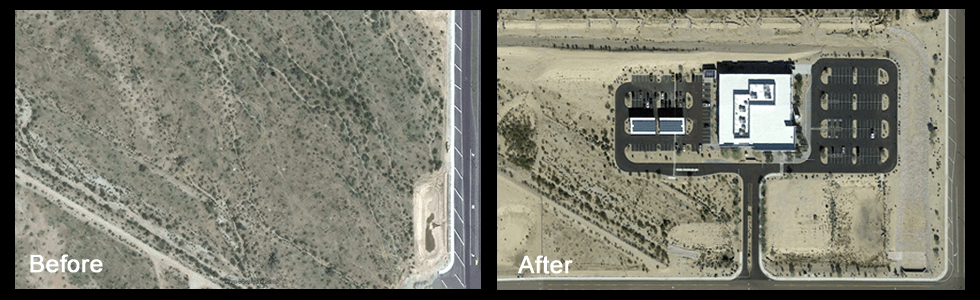 Before and after land development images