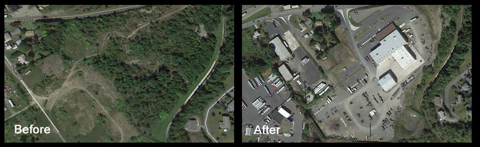 Before and after land development for Cleveland Brothers facility